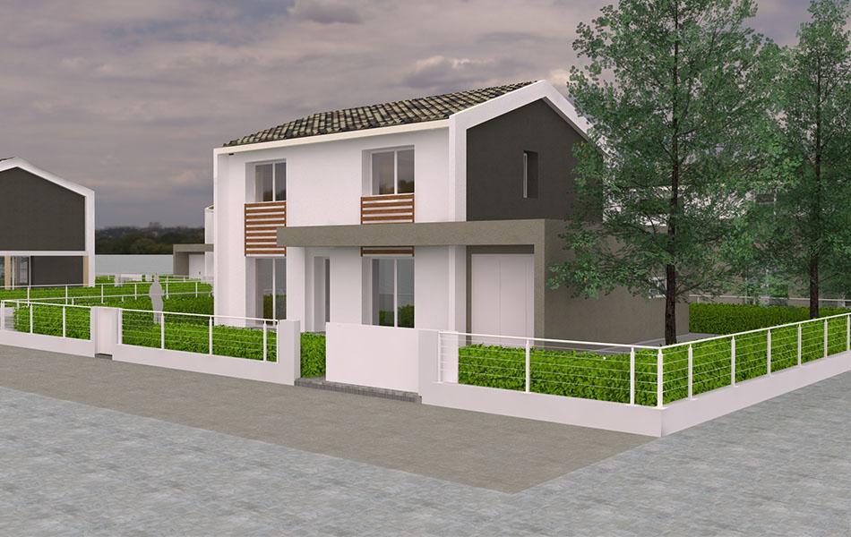 Vendesi abitazioni bifamiliari indipendenti di nuova generazione a Camalò di Povegliano (TV). Disposte su due piani con giardino privato.